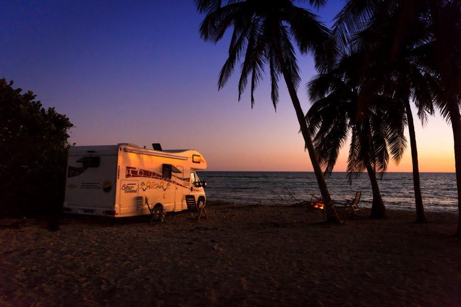 camper beach night